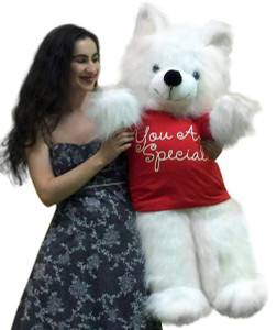 American Made Giant Teddy Bear 45 inches Wears YOU ARE SPECIAL T-shirt White Soft Big Plush