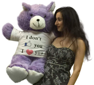 American Made Giant Purple Teddy Bear 36 Inches Wears I Dont Like You I Love You Tshirt