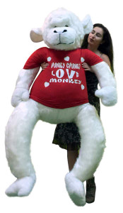 American Made 6 Foot Giant Stuffed White Gorilla Hunky Chunky Love Monkey Big Plush Valentine