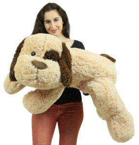 Jumbo Stuffed Puppy Dog 46 Inches Long Big Plush Soft Adorable Premium Quality Stuffed Animal