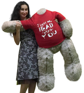I Lost My Head Over You Headless Giant Teddy Bear 4 Foot Soft Gray Romantic Made in USA