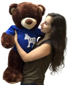 Political Giant Teddy Bear Democrat 36 Inches Wears Tshirt Imprinted with Democratic Donkey
