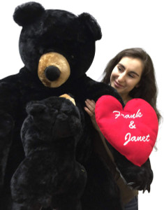 Your Personalized Message Custom Printed on Heart of Giant Stuffed Black Bear with Baby Cub
