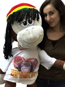 Giant Stuffed Rasta Monkey Wears Tshirt that says Hey Beautiful You Make Me Smile 48 Inches Brown Soft New