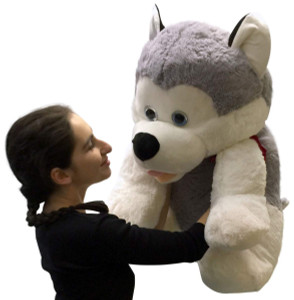 Jumbo Stuffed Husky 30 Inches Big Plush Soft Dog New