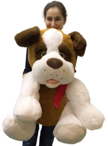 Jumbo Stuffed Saint Bernard 30 Inches Big Plush Dog Soft New