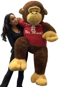 Giant Stuffed 5 Foot Monkey 60 Inches Soft Brown I Love You This Much