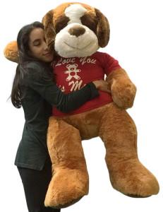 Giant Stuffed Saint Bernard 48 Inches Soft 4 Feet Tall Plush Dog I Love You This Much