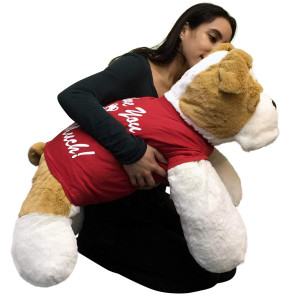 Romantic Jumbo Stuffed Bulldog 30 Inches Soft Big Plush Dog I Love You This Much