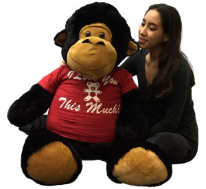 Romantic Big Stuffed Gorilla 48 Inches Soft Black 4 Feet Tall I Love You This Much
