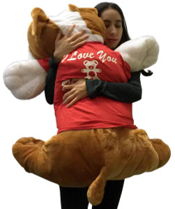 Romantic Giant Stuffed Bulldog 42 Inches Soft Big Plush Dog I Love You This Much