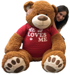 Big Plush 5 Foot Giant Teddy Bear 60 Inch Soft Brown Wears HE LOVES ME T-shirt