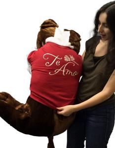 Giant Stuffed Bulldog 42 Inches Dark Brown Color Soft Big Plush Dog Te Amo