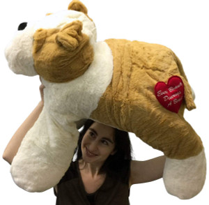 Big Stuffed Bulldog 30 Inch Soft Big Plush Dog Every Beauty Deserves a Beast