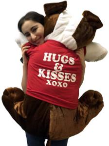 Giant Stuffed Bulldog 42 Inches Soft Big Plush Brown Dog Hugs and Kisses