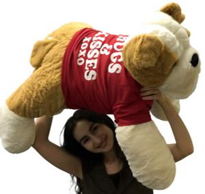 Jumbo Stuffed Bulldog 30 Inches Soft Big Plush Dog Hugs and Kisses