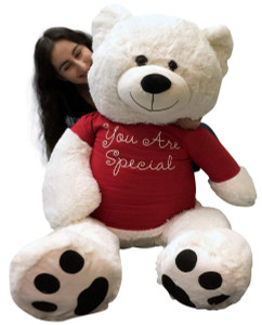 Giant Teddy Bear 48 Inch White Soft New, Wears Removable T-shirt You Are Special