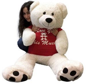Giant Teddy Bear 48 Inch White Soft, Wears Removable T-shirt I Love You This Much