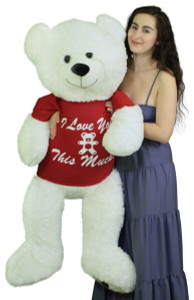 Giant Teddy Bear 52 Inch White Soft, Wears Removable T-shirt I Love You This Much