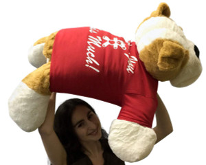 Jumbo Stuffed Bulldog 30 Inch Soft Big Plush Dog, Wears Removable T-shirt I Love You This Much