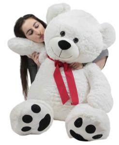 Giant Teddy Bear 48 Inch White Soft, Premium Quality 4 Foot Big Teddybear