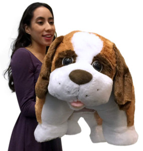 Giant Stuffed Dog Plush, 40 Inch Huge Saint Bernard Pillow, Very Soft, New