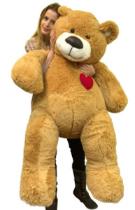 Giant Teddy Bear 55 Inch Heart on Chest to Express Love, Tan Soft New Big Plush Teddybear