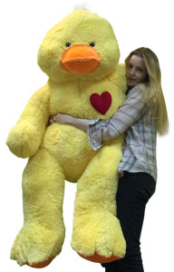 Giant Stuffed Duck 48 Inch Soft 4 Foot Plush Ducky, Heart on Chest to Express Love