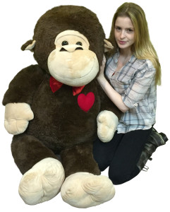 Giant Stuffed Monkey 60 Inch Soft 5 Foot Plush Animal, Heart on Chest to Express Love