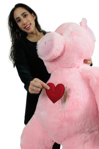 Giant Stuffed 5 Foot Pink Pig, Heart in Zippered Chest Pocket to Express Love, 60 Inch Soft Plush