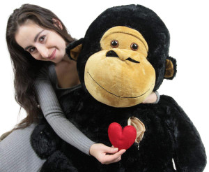Giant Stuffed Gorilla Monkey, Heart in Zippered Chest Pocket, 48 Inch Soft 4 Feet Tall