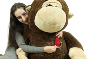 Giant Stuffed Monkey, Heart in Zippered Chest Pocket to Express Love, 60 Inch Soft 5 Feet Tall