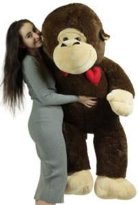 Oversized Stuffed Monkey 60 Inches Soft Plush Animal with Love Heart Pillow on Chest