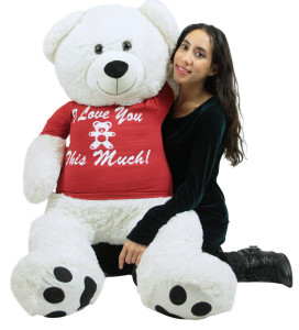 Giant White Teddy Bear 52 Inch Soft Big Plush, Wears Removable T-shirt I Love You This Much