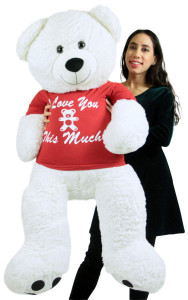 Lifesized Teddy Bear 4 Foot Soft White, Wears Removable T-shirt I Love You This Much