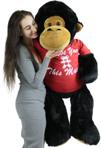 Large Stuffed Gorilla 4 Foot Black Soft Wears T-shirt I Love You This Much