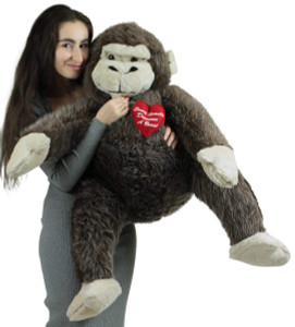 American Made Giant Stuffed Love Monkey 40 inch Brown Soft, Holds Heart Every Beauty Deserves a Beast