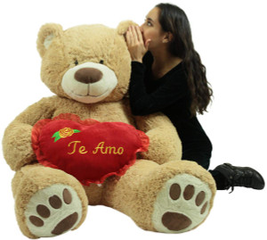 Te Amo Giant Teddy Bear 5 Foot Soft Teddybear Romantic Holds Heart Pillow to Show Love