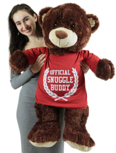Official Snuggle Buddy Giant Teddy Bear 36 Inch Brown Soft Wears Removable T-shirt