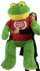 Giant Stuffed Frog 60 Inch Soft 5 Foot Big Plush Wears Official Snuggle Buddy T-shirt