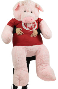 5 Foot Giant Stuffed Pig 60 Inch Soft Pink Plush Piggy, Wears Official Snuggle Buddy Tshirt