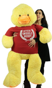 5 Foot Giant Stuffed Duck 60 Inch Soft  Big Plush Wears Tshirt Official Snuggle Buddy
