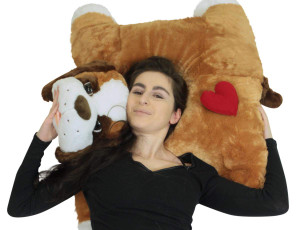 I Love You Giant Stuffed Dog Plush, 40 Inch Huge Saint Bernard Pillow with Red Heart on Butt