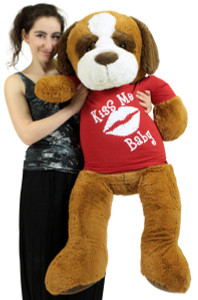 4 Foot Giant Stuffed Saint Bernard 48 Inch Soft Plush Dog Wears Removable Tshirt Kiss Me Baby