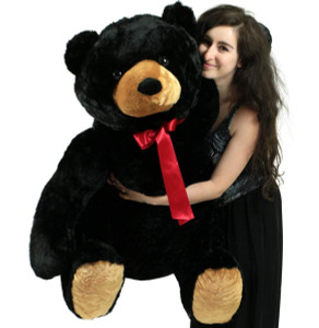 Life Size Stuffed Black Teddy Bear, Soft Big Plush Animal, 3 Feet Tall and 3 Feet Wide