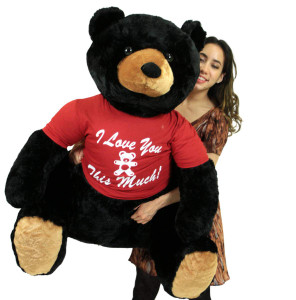 Romantic Life Size Black Teddy Bear, Soft Big Plush Animal Wears Tshirt I Love You This Much