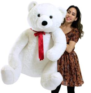 Life Size Stuffed White Teddy Bear, Soft Big Plush Animal, 3 Feet Tall and 3 Feet Wide