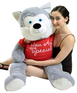 5 Foot Giant Stuffed Husky 60 Inch Soft Big Plush Stuffed Dog Wears Tshirt You Are Special