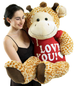 4 Foot Giant Stuffed Giraffe 48 Inch Soft Big Plush Stuffed Animal Wears Tshirt I Love You