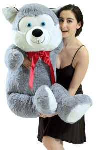 4 Foot Giant Stuffed Alaskan Husky 48 Inch Soft Big Plush Stuffed Dog